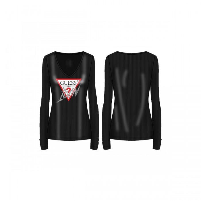 Camiseta manga larga, negra, Guess- Camiseta negra GUESS, ICON logo GUESS