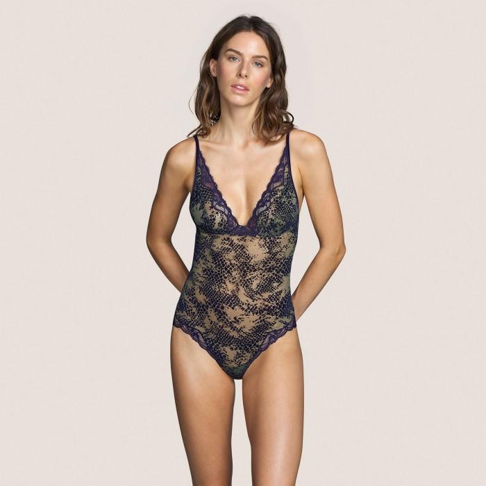 Body dentelle- body lingerie- Sarda Lingerie Mamba Majestic Bleu, lingerie dentelle, taille 100, bonnets B, C