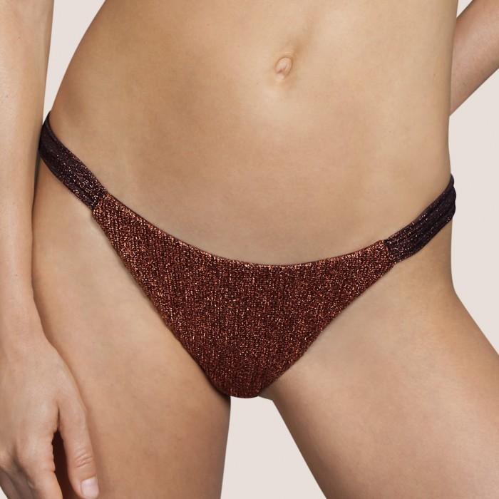 Gold luxury High bikini ANDRES SARDA- Lamarr Copper women swimwear 2021- Waisted Bikini bottom & swimsuits 2021, lurex