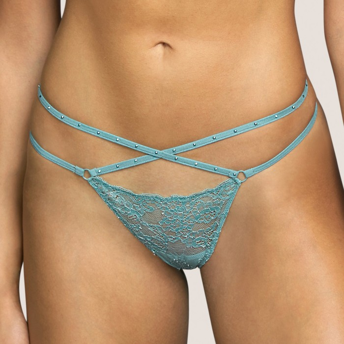 Lace thong- Tiger Bali Green Andres Sarda lace lingerie, undrewear