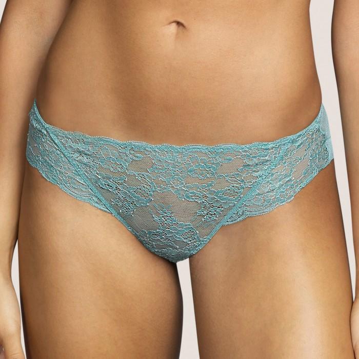 Lace bikini brief- Tiger Bali Green Andres Sarda lace lingerie, undrewear