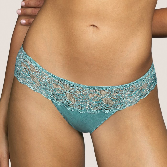 Lace short thong- Tiger Bali Green Andres Sarda lace lingerie, undrewear