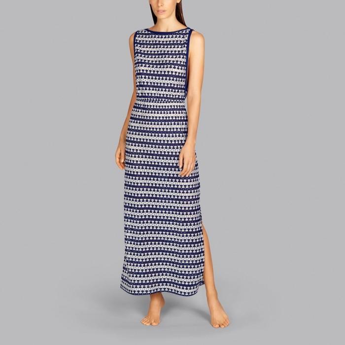 Vestido largo blanco y azul, pareo - Imagine Marino Swim Andres Sarda Baño, Vestidos largos verano 2021