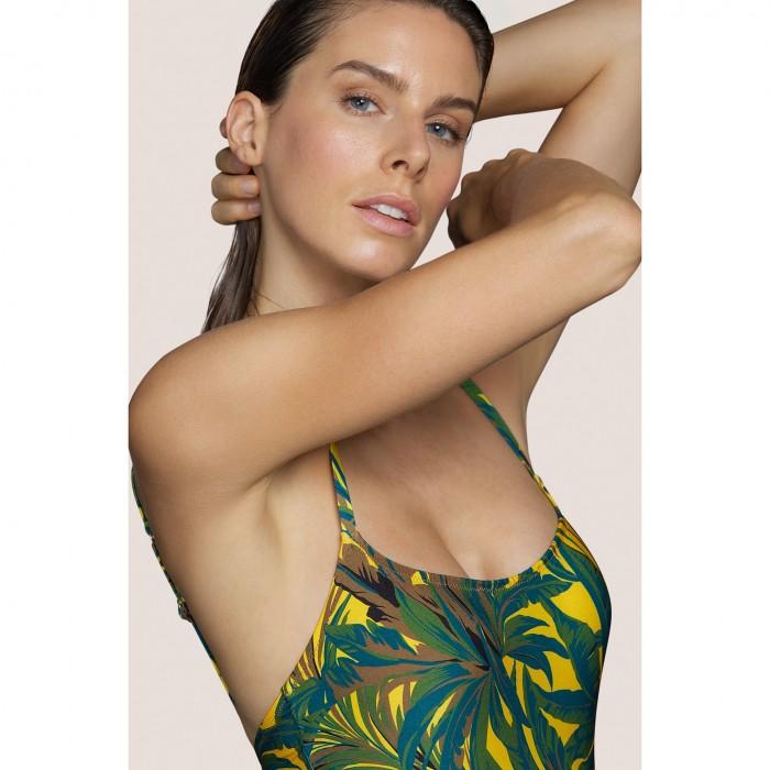 Maillot de bain jaune imprimé tropical ANDRES SARDA- Lamarr Jaune, BAIN femme 2021- Maillots de bain rembourré B-D, 100
