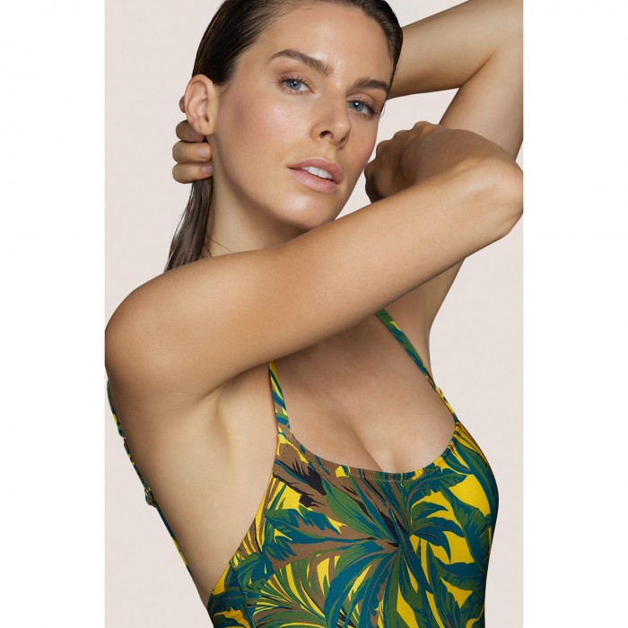 Yellow Swimsuit T-shirt neckline ANDRES SARDA- Lamarr Yellow, Tropical Print- Womens swimsuits 2021, B-D, 100