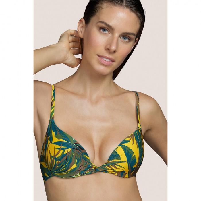 Bikini amarillo con relleno ANDRES SARDA- Lamarr Amarillo, Bikinis mujer 2021- Bikini estampado tropical con espuma, B-E