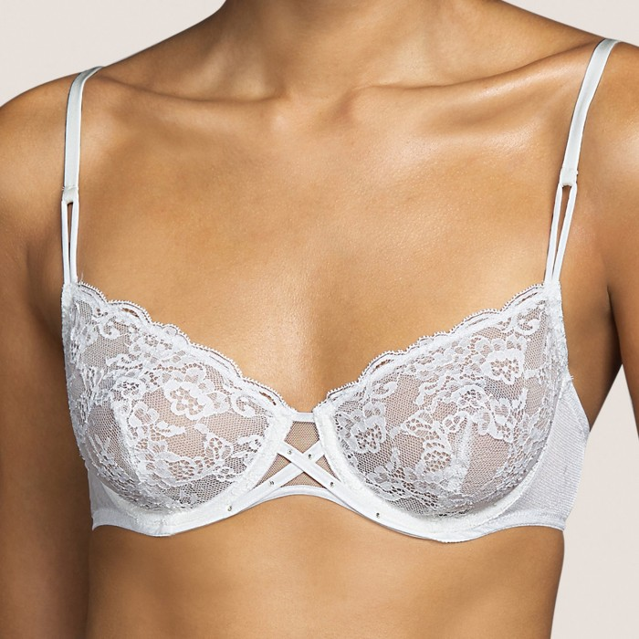White lace bra, wire non padded- Tiger White Andres Sarda, Bridal Lingerie and non padded bra Underwear