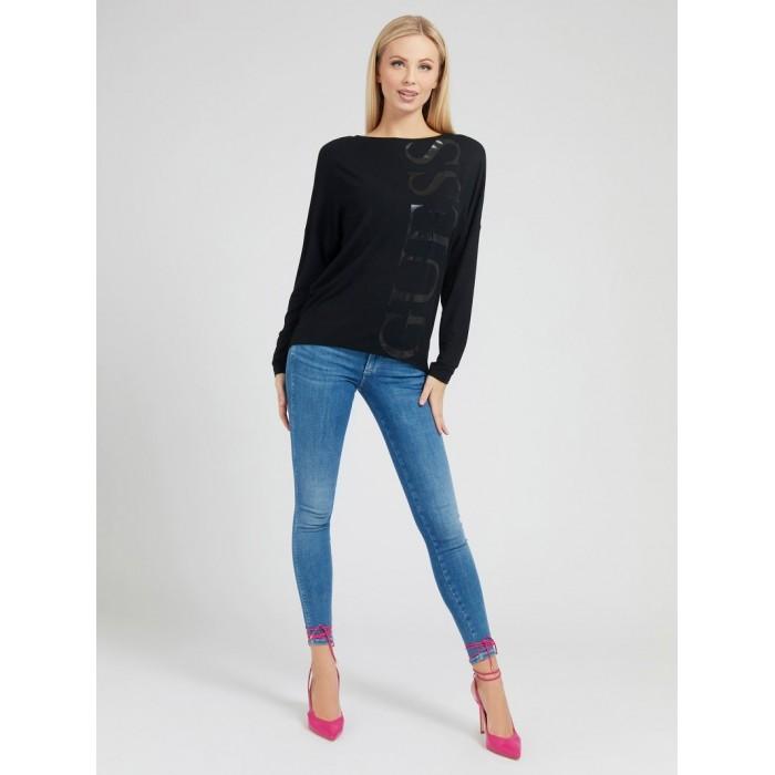 T-shirt noir manches longues logo- LS KAROLINA TEE SHIRTS Femme col bateau GUESS- Online