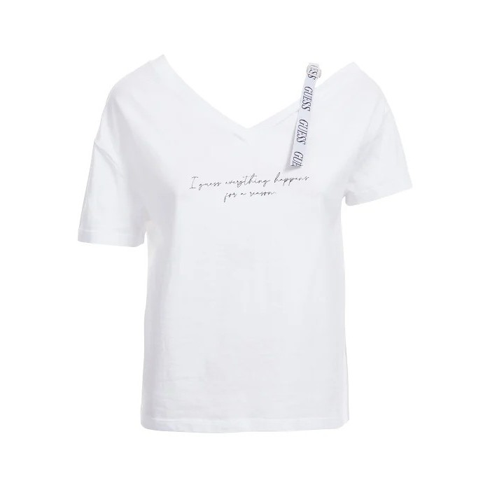 Camiseta blanca hombro LOGO Guess- SS VN ANITA TEE camisa manga corta blanca GUESS