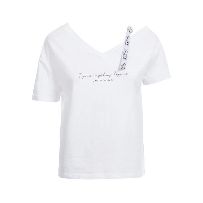 White cropped t-shirt Guess- SS VN ANITA TEE white drop shoulder t-shirt GUESS