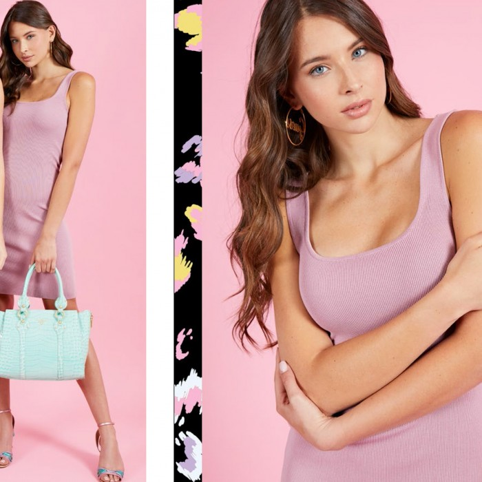 Vestido rosa palo, canalé, Guess- Vestido midi, rosa palo tirantes GUESS AGATHA SQUARE DRESS