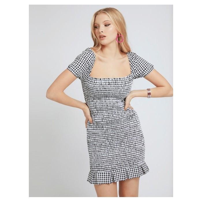 GUESS Black Gingham mini dress- AIDA DRESS short sleeve ruched mini DRESSES-SKIRTS Women GUESS- Online