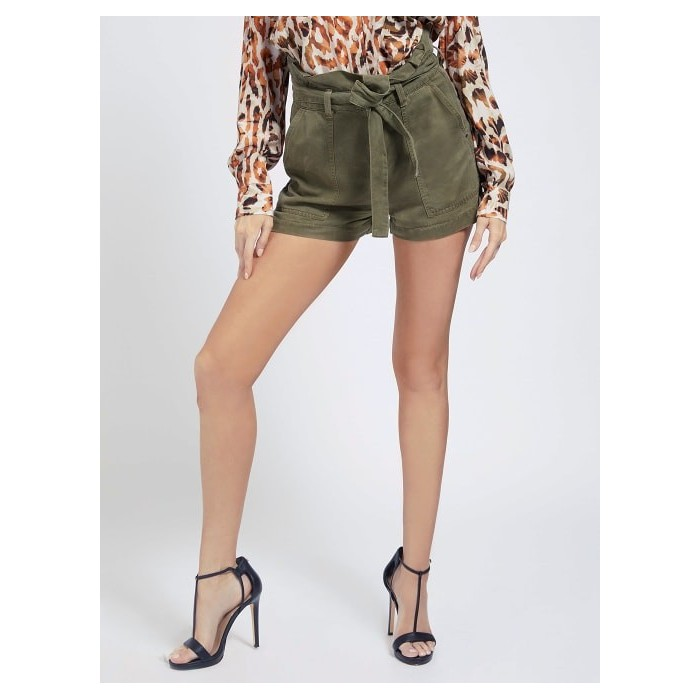 GUESS high waist cargo short- JANNA SHORT green Lyocell safari PANTS-TRAUSERS Women GUESS- Online