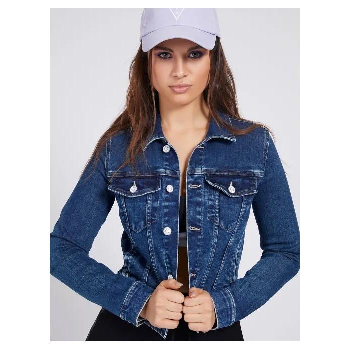 Denim jacket ECO GUESS- DELYA TRUCKER Eco jean crop JACKETS Women GUESS- Online