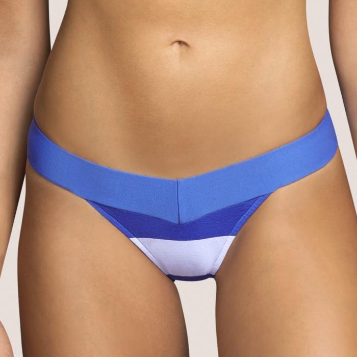 Bas maillot bain bleu rayé, culotte italien taille haute ANDRES SARDA ELSA BLEU-Bikinis culotte haute 2021