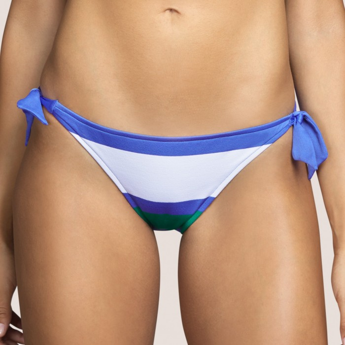 Bikini azul rayas ANDRES SARDA, braga cadera cordones- ELSA AZUL Bikinis braga lazos Baño mujer 2021