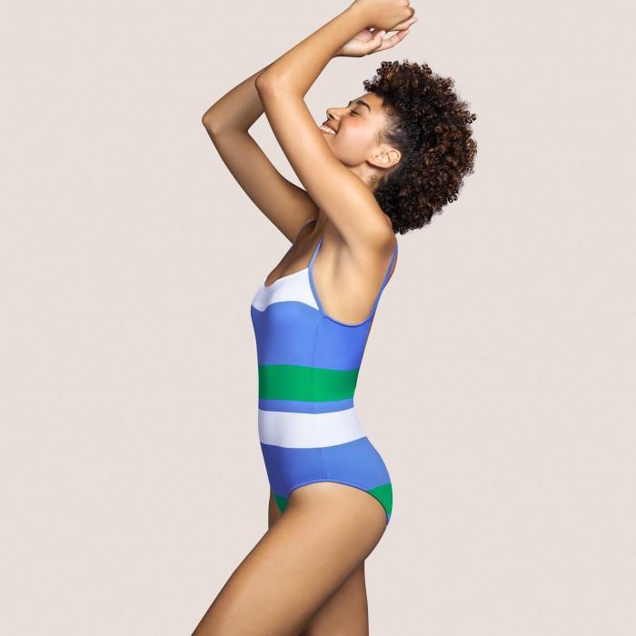 Bañador azul rayas ANDRES SARDA, bañador escote cuadrado- ELSA AZUL  Bañadores con espuma Baño mujer 2021