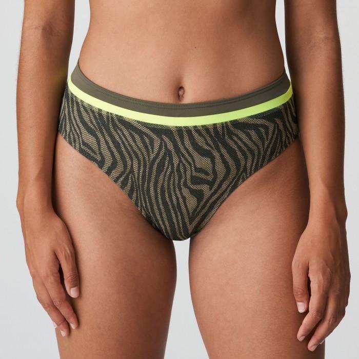 Green animal print high waisted bikini brief plus size, PrimaDonna Atuona Green- Plus size Bikinis 2021