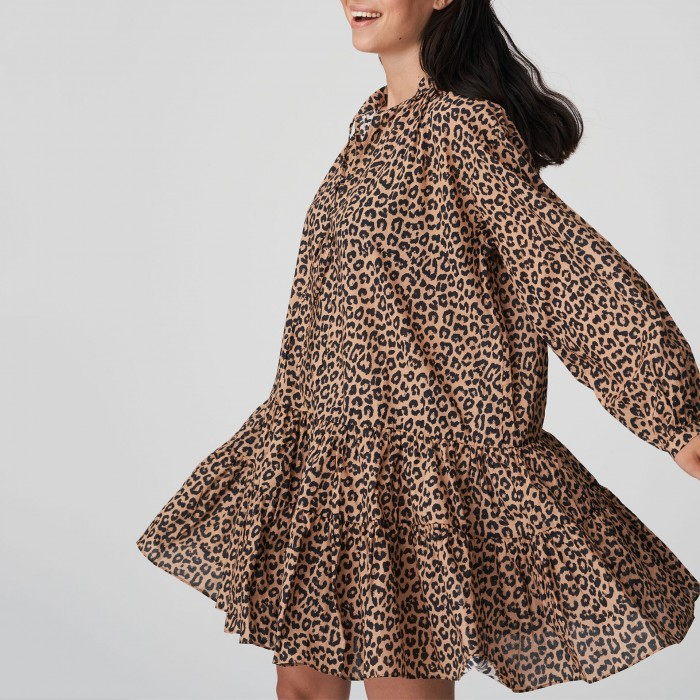Vestido corto verano animal print PRIMADONNA, vestido verano volantes-KIRIBATI Leopardo, Vestidos cortos verano 2021