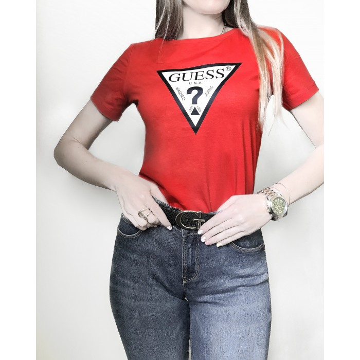 T-shirt rouge logo triangle GUESS SS CN ORIGINAL TEE coton rouge triangle T-SHIRTS Femme GUESS- Online