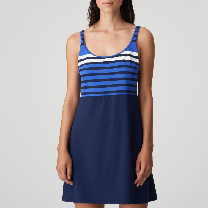 Vestido playa Azul rayas tallas grandes PrimaDonna- Polynesia Baño Azul Vestido playa 2021