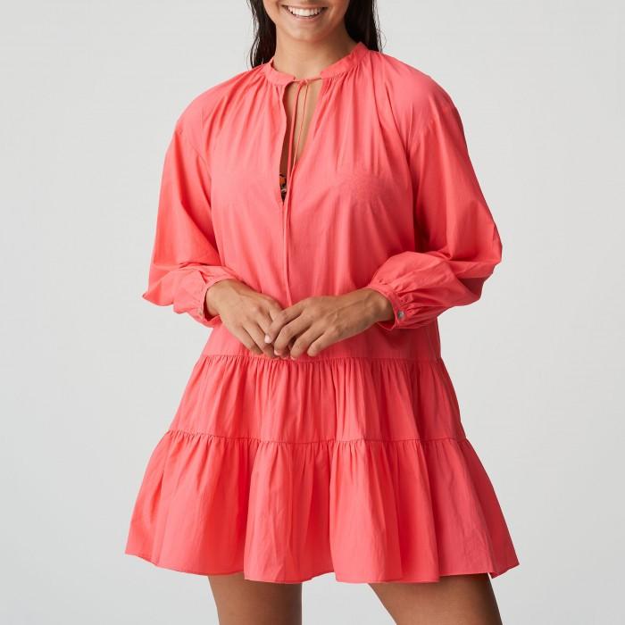 Caftan rosa coral, vestido...