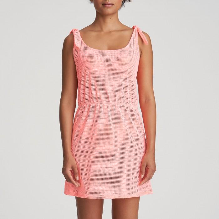 Vestido corto de verano, coral en rejilla Isaura, vestido pareo coral Verano 2021 MJ