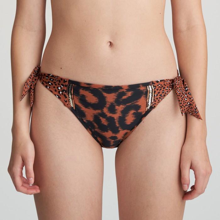 Bikini de lazos marrón animal print Zanzibar Verano 2021, braga de Bikini de lazos animal print, marrón, Verano 2021