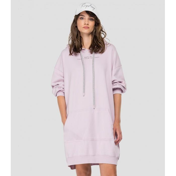 Replay hoodie dress pink -...