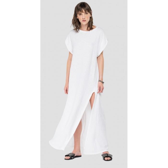 Robe longue en coton blanc...