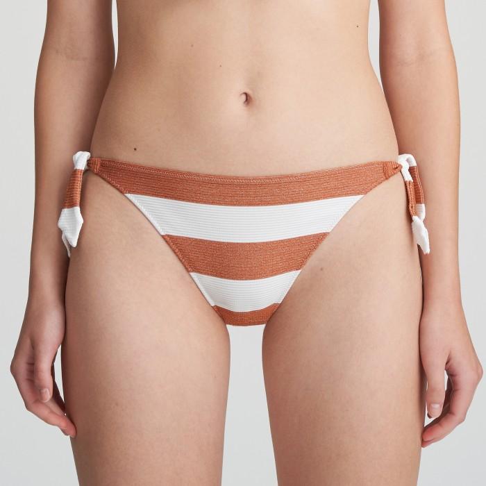 Bikini blanco de lazos a rayas Fernanda cooper, braga de bikini a lazos blanca Verano 2021