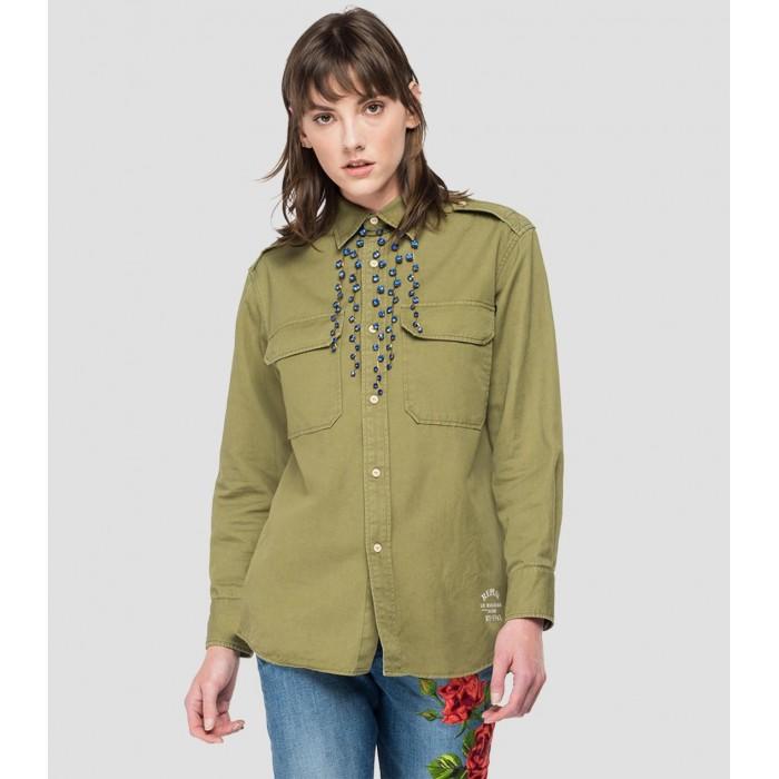 Shirt Military green linen...