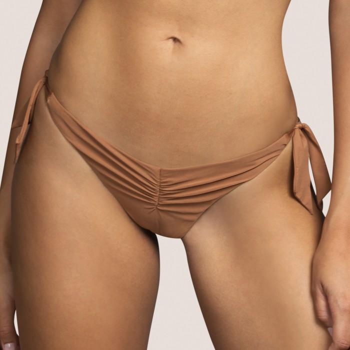 Bas maillot bain noeud brune, culotte noeud Andres Sarda Adichie Caramel-Bikinis culotte liens 2021