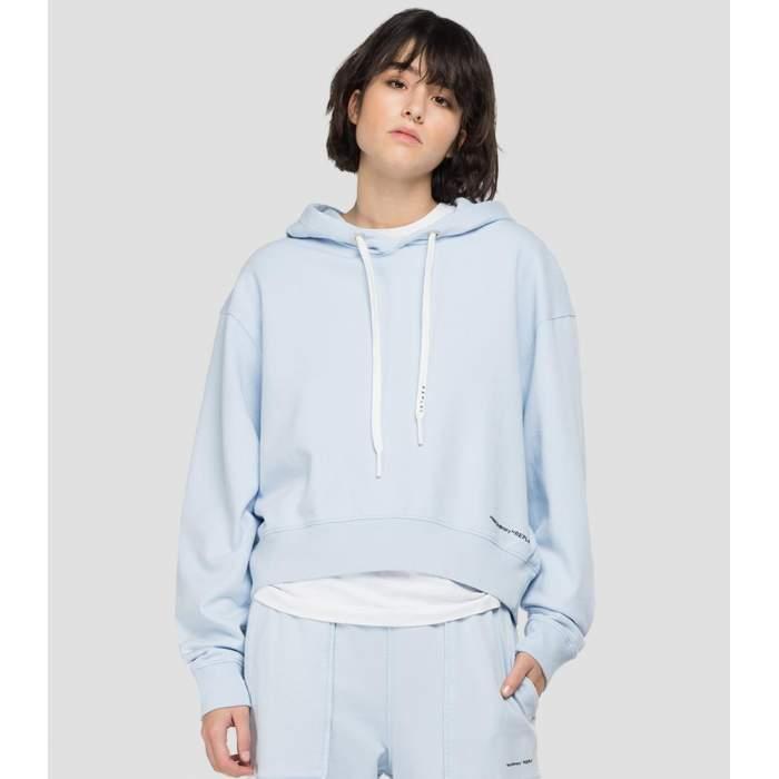 Hoodie pastel blue cotton...