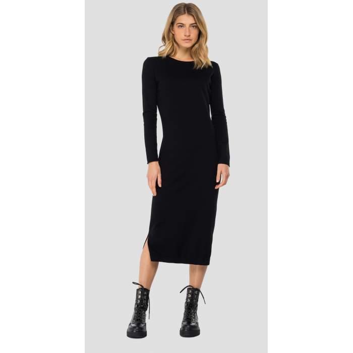 Vestido negro longuette...