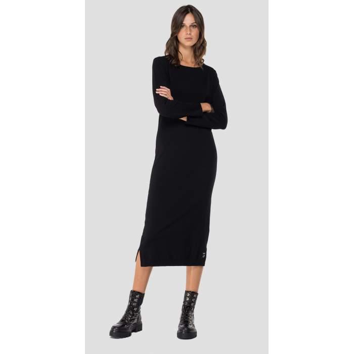 Vestido longuette negro lana merino Hyperflex Replay- Vestido lana merino negro longuette Replay 2021