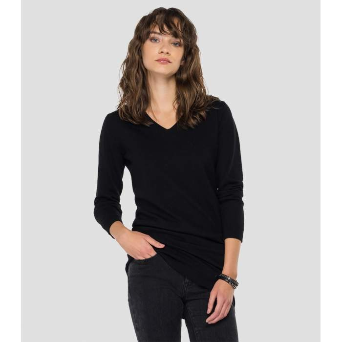 Jersey negro lana merino...