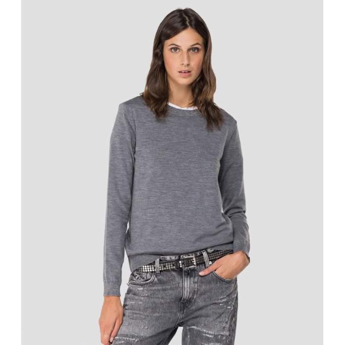 Pull laine mérinos gris...