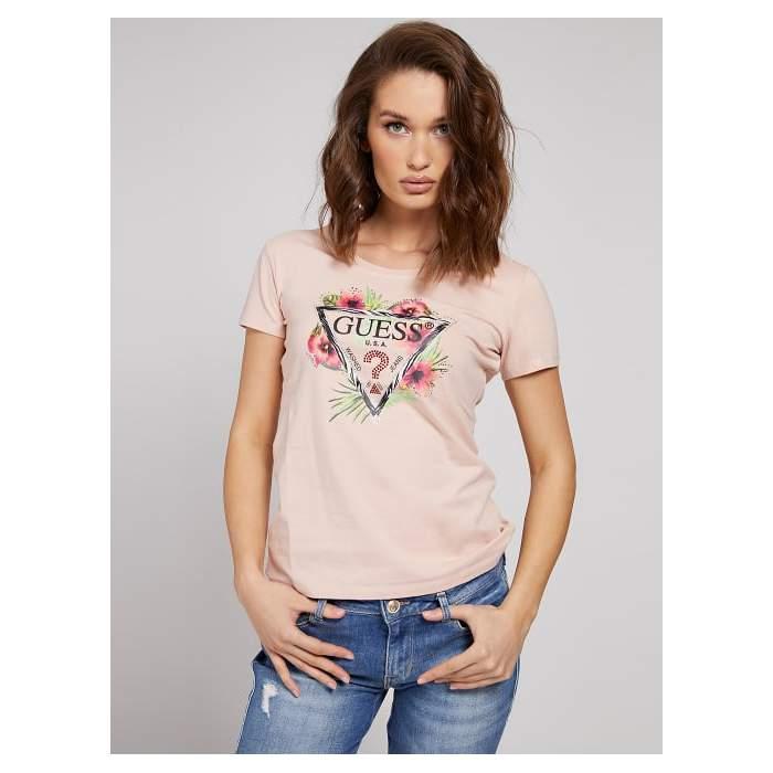 T-shirt coton rose logo...