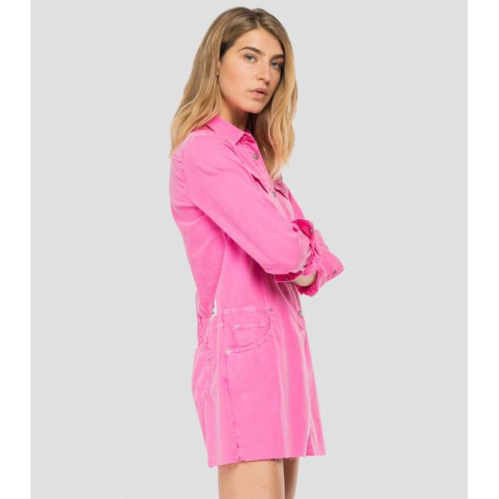 Vestido denim rosa corto...