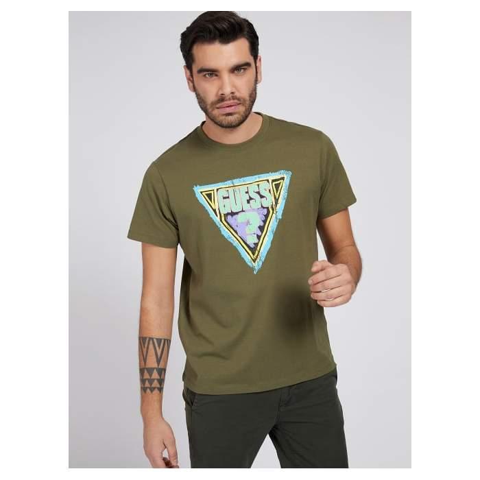 T-shirt Vert Guess Triangle...