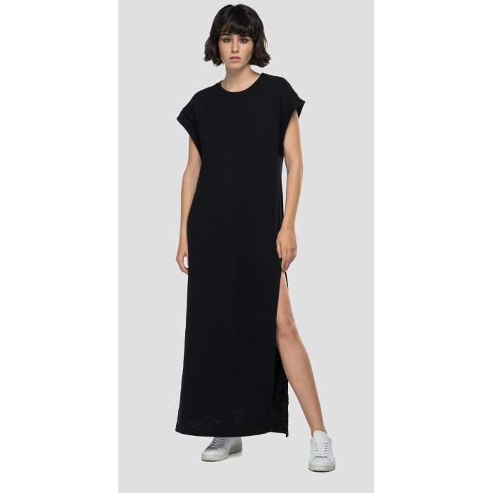 Robe noir longue coton...