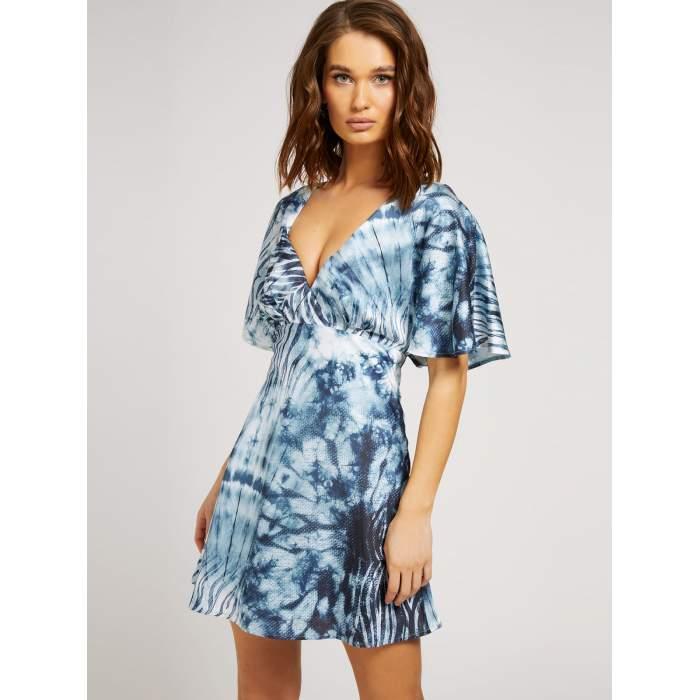 Vestido Tie Dye corto GUESS 2021- JASIA DRESS tie dye azul VESTIDOS y FALDAS GUESS- Online