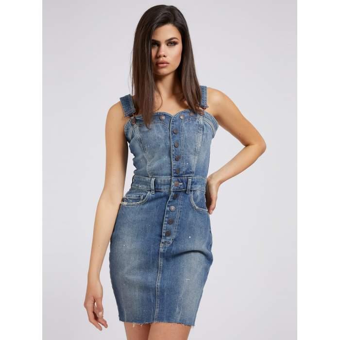 Vestido denim corto GUESS 2021- DELTA DRESS peto corto jean tirantes VESTIDOS y FALDAS GUESS- Online 2021