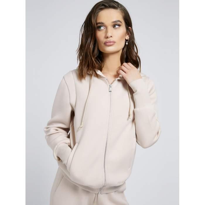 Sudadera capucha crema GUESS 2021- ELSA ZIPPED FLEECE sudadera camel algodón comfy JERSEYS Mujer GUESS- Online
