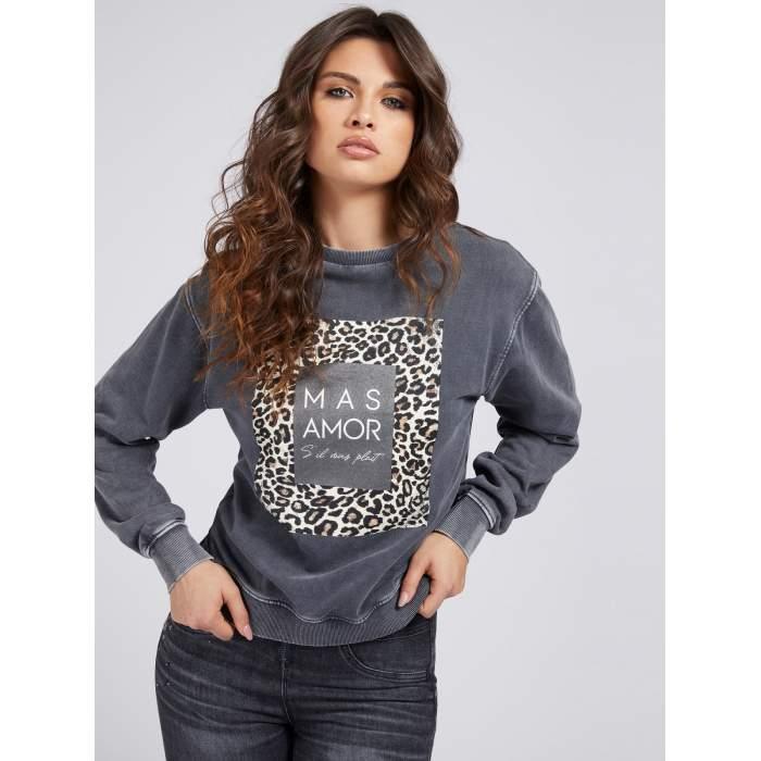 Jersey felpa gris GUESS 2021- DAGMAR FLEECE algodón jersey comfy JERSEYS Mujer GUESS- Online