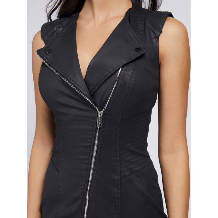 Robe noire Eco cuir GUESS-...
