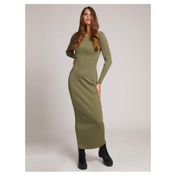 Long ribbed green dress...