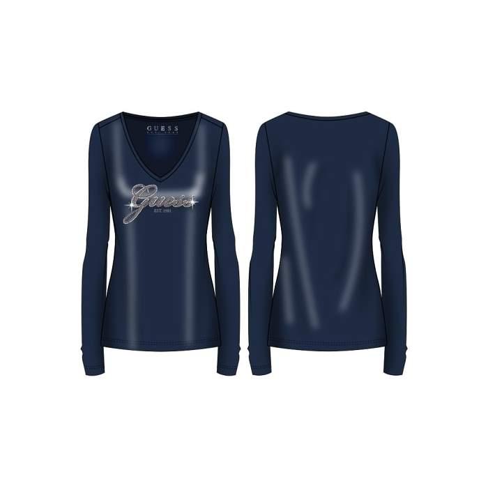 Camiseta  Guess azul manga...