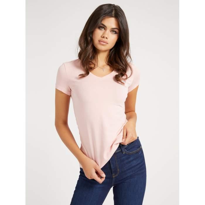 Camiseta rosa cuello pico...